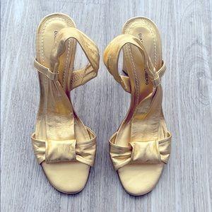 Diane Von Furstenberg gold heels